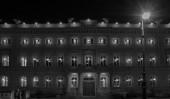 Big building illuminated — Stock Photo
