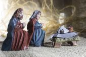 Handmade Christmas crib — Stockfoto