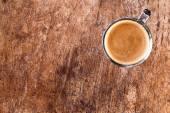 Café no antigo fundo de madeira da parede. — Fotografia Stock