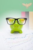 Piggy bank with flag on background - Zambia — Stock Photo