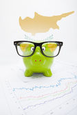 Piggy bank with flag on background - Cyprus — Stock Photo