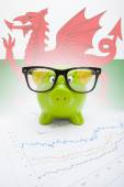 Piggy bank with flag on background - Wales — Stock Photo
