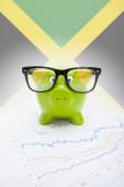 Cofrinho com bandeira no fundo - jamaica — Fotografia Stock