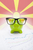 Piggy bank with flag on background - Republic of Macedonia — Stock Photo