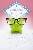 Piggy bank with US state flag on background - Arkansas — Stock Photo