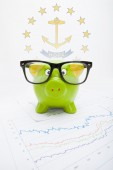 Piggy bank with US state flag on background - Rhode Island — Stock Photo