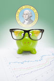 Piggy bank with US state flag on background - Washington — Stock Photo