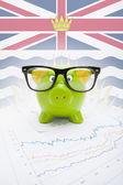 Piggy bank with Canadian province flag on background - British Columbia — Stock Photo