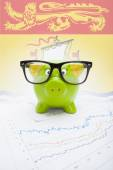 Piggy bank with Canadian province flag on background - New Brunswick — Stock Photo