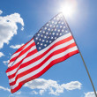 USA flag waving on blue sky background - 1 to 1 ratio — Stock Photo #53579985