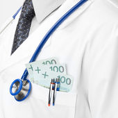 Doctor with money in his pocket - closeup shot - 1 to 1 ratio — Stock Photo
