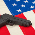 Handgun over USA flag - 1 to 1 ratio — Stock Photo #53580741