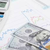 US Tax Form 1040 with calculator and 100 US dollars - 1 to 1 ratio — Stock Photo