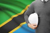 Architect with flag on background  - Tanzania — Stock Photo