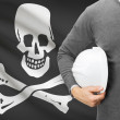 "Engineer with flag on background series - ""Jolly Roger"" flag - symbol of piracy. — Stock Photo #54371541"