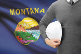 Engineer with flag on background series - Montana — Stock Photo