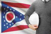 Engineer with flag on background series - Ohio — Stock Photo