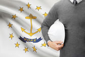Engineer with flag on background series - Rhode Island — Stock Photo