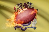 American football ball with flag on backround series - New Jersey — Stock Photo