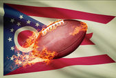 American football ball with flag on backround series - Ohio — Stock Photo