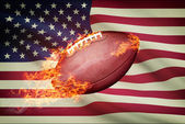 American football ball with flag on backround series - USA  — Stock Photo