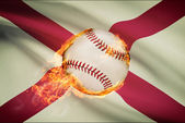 Baseball ball with flag on background series - Alabama — Stock Photo