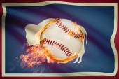 Baseball ball with flag on background series - Wyoming — Stock Photo