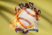 Baseball ball with flag on background series - New Jersey — Stock Photo