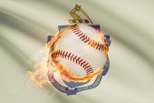 Baseball ball with flag on background series - Massachusetts — Stock Photo