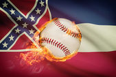 Baseball ball with flag on background series - Mississippi — Stock Photo