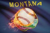 Baseball ball with flag on background series - Montana — Stock Photo