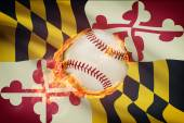 Baseball ball with flag on background series - Maryland — Stock Photo