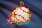 Baseball ball with flag on background series - Maine — Stock Photo