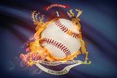 Baseball ball with flag on background series - Michigan — Stock Photo