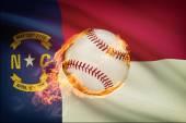 Baseball ball with flag on background series - North Carolina — Stock Photo