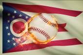 Baseball ball with flag on background series - Ohio — Stock Photo