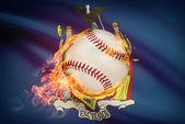 Baseball ball with flag on background series - New York — Stock Photo