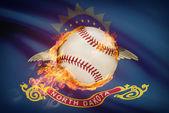 Baseball ball with flag on background series - North Dakota — Stock Photo