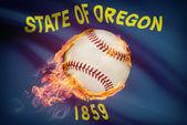 Baseball ball with flag on background series - Oregon — Stock Photo