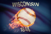 Baseball ball with flag on background series - Wisconsin — Stock Photo