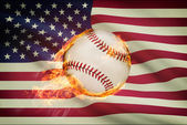 Baseball ball with flag on background series - USA - United States of America — Stockfoto