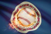 Baseball ball with flag on background series - Virginia — Stock Photo