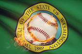 Baseball ball with flag on background series - Washington — Stock Photo