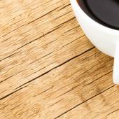 Coffee cup on old wooden table - view from top - 1 to 1 ratio — Stock fotografie