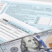 USA Tax Form 1040 with calculator and 100 dollars bills - 1 to 1 ratio — Stock Photo