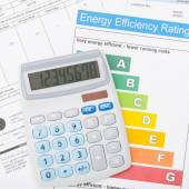 Calculator and energy efficiency chart - 1 to 1 ratio — Stock Photo