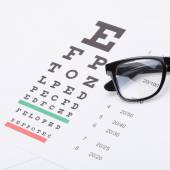 Eyesight test table with glasses over it - studio shot - 1 to 1 ratio — Stock Photo