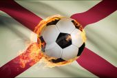 Soccer ball with flag on background series - Alabama — Stock Photo