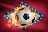 Soccer ball with flag on background series - Arkansas — Stock Photo