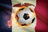 Soccer ball with flag on background series - Iowa — Stok fotoğraf